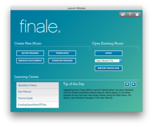 Finale Launch Window