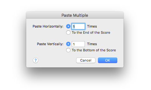 Paste Multiple in Finale