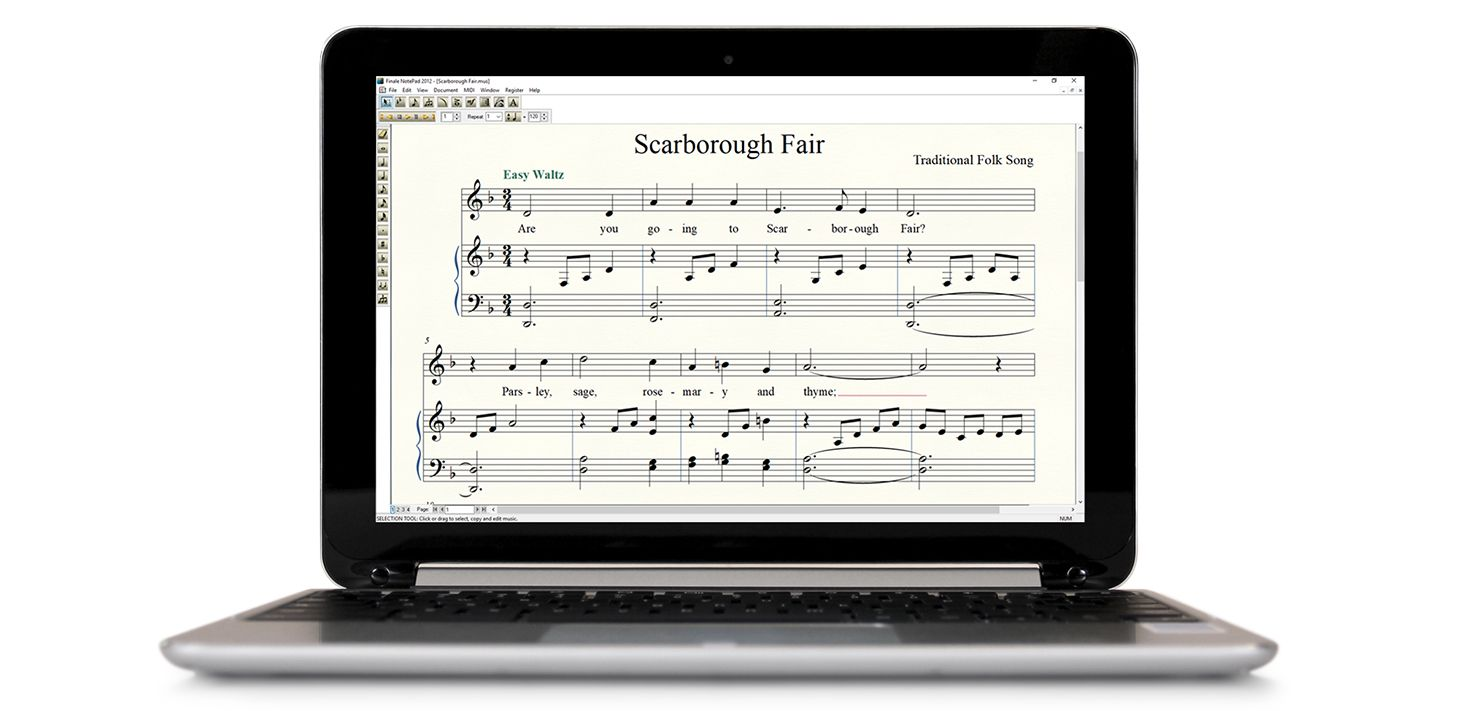 Notepad music notation on Windows laptop