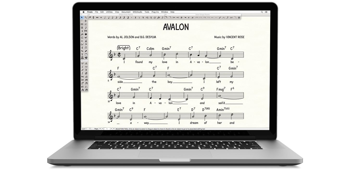 Finale music writing software displayed on a Macbook
