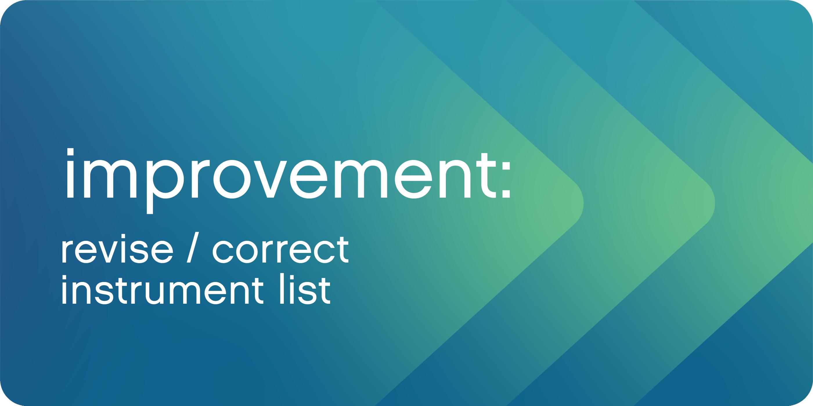 corrected instrument list